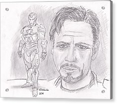 Tony Stark- Ironman Acrylic Print by Chris  DelVecchio