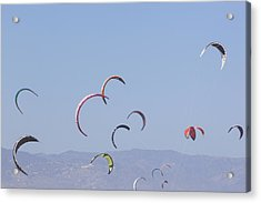 Torremolinos, Spain  Kite Surfing Acrylic Print by Ken Welsh