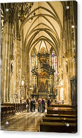 Tourists At Altar Of Stephansdom Acrylic Print by Greg Elms