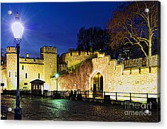 Tower Of London Walls At Night Acrylic Print by Elena Elisseeva