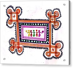 Tradition Art-aunties In Rangoli Acrylic Print by Poornima M