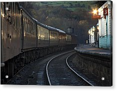 Train At Station At Dusk, Pickering Acrylic Print by John Short