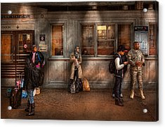 Train - Station - Waiting For The Next Train Acrylic Print by Mike Savad