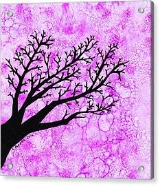 Tree Branch On Pink Splash Acrylic Print by Karen Pappert