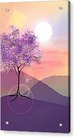 Tree On A Hill Acrylic Print by Ginny Schmidt