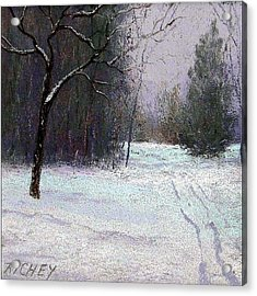Trees In A Winter Fog Acrylic Print by Bob Richey
