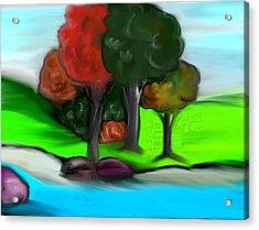 Trees On River Acrylic Print by Paula Brown