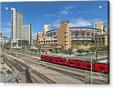 Trolley To Petco Park Acrylic Print by Alan Crosthwaite
