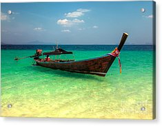 Tropical Boat Acrylic Print by Adrian Evans