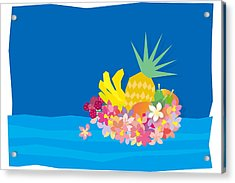 Tropical Flowers With Fruits On Waves Acrylic Print by Meg Takamura