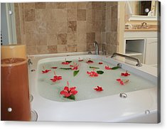 Tub Of Hibiscus Acrylic Print by Shane Bechler