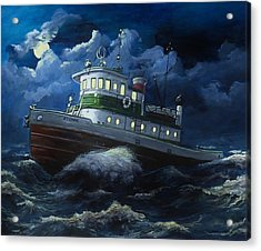Tug Boat On Rough Water Acrylic Print by Virginia Sonntag