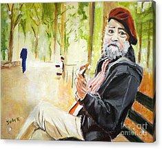 Tuning In Acrylic Print by Judy Kay