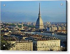 Turin, Cityscape With The Mole Antonelliana Acrylic Print by Bruno Morandi