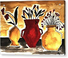 Tuscan Pottery With Flowers Ll Acrylic Print by Marsha Heiken