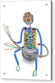 Twisted Man From A Computer Cable Acrylic Print by Aleksandr Volkov