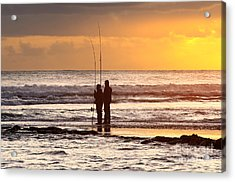 Two Fisherman Acrylic Print by Carlos Caetano