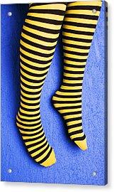 Two Legs Against Blue Wall Acrylic Print by Garry Gay