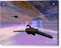 Two Starships Warp Along Space Enegy Acrylic Print by Corey Ford