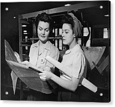 Two Women In Workshop Looking At Blueprints, (b&w) Acrylic Print by George Marks