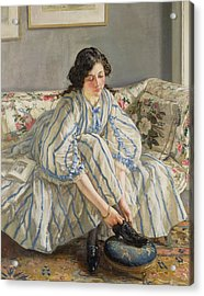 Tying Her Shoe Acrylic Print by Sir Walter Russell