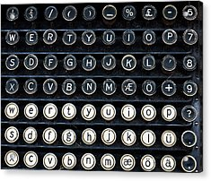 Typewriter Keyboard Acrylic Print by Hakon Soreide