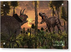 Tyrannosaurus Rex And Triceratops Meet Acrylic Print by Mark Stevenson