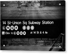 Union Square Subway Station Bw Acrylic Print by Susan Candelario