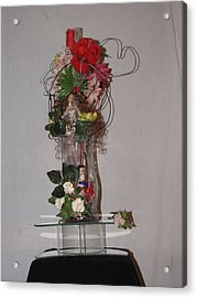 Unique Glass Floral Art Piece Acrylic Print by HollyWood Creation By linda zanini
