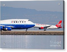 United Airlines And Virgin America Airlines Jet Airplanes At San Francisco International Airport Sfo Acrylic Print by Wingsdomain Art and Photography