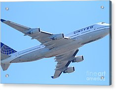 United Airlines Boeing 747 . 7d7838 Acrylic Print by Wingsdomain Art and Photography