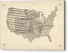 United States Old Sheet Music Map Acrylic Print by Michael Tompsett