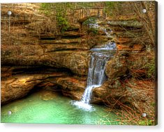Upper Falls From The Top Acrylic Print by Shirley Tinkham