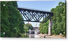 Upside-down Railroad Bridge Acrylic Print by Guy Whiteley