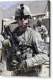 U.s. Army Soldier Conducts A Combat Acrylic Print by Stocktrek Images