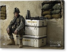U.s. Army Soldier Relaxing Before Going Acrylic Print by Stocktrek Images