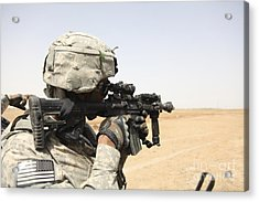 U.s. Army Soldier Scans The Horizon Acrylic Print by Stocktrek Images