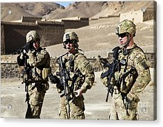U.s. Army Soldiers Coordinate Security Acrylic Print by Stocktrek Images