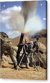 U.s. Army Soldiers Firing A 120mm Acrylic Print by Stocktrek Images