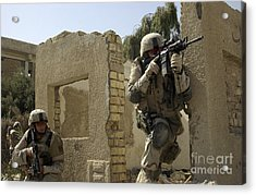 U.s. Army Soldiers Reacting To Small Acrylic Print by Stocktrek Images