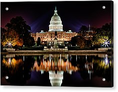 Us Capitol Building And Reflecting Pool At Fall Night 2 Acrylic Print by Val Black Russian Tourchin