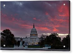 Us Capitol - Pink Sky Getting Ready Acrylic Print by Metro DC Photography