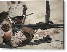 U.s. Marine Clears The Feed Tray Acrylic Print by Terry Moore