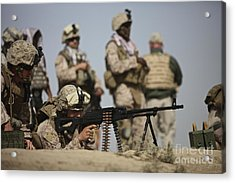 U.s. Marine Prepares To Fire A Pk Acrylic Print by Terry Moore