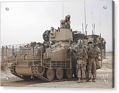 U.s. Marines Talk With A British Acrylic Print by Stocktrek Images