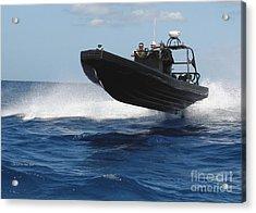 U.s. Navy Sailors Operate A Nine-meter Acrylic Print by Stocktrek Images