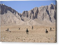 U.s. Soldiers With Take A Security Halt Acrylic Print by Everett