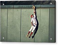 Usa, California, San Bernardino, Baseball Player Making Leaping Catch At Wall Acrylic Print by Donald Miralle