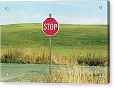 Usa, Washington, Palouse, Stop Sign On Country Road Acrylic Print by Mel Curtis