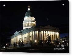 Utah Capitol At Night Acrylic Print by Gary Whitton
